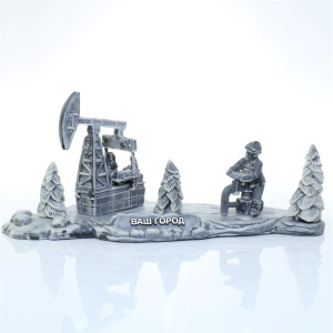 Нефтяники за работой на фоне качалки 4